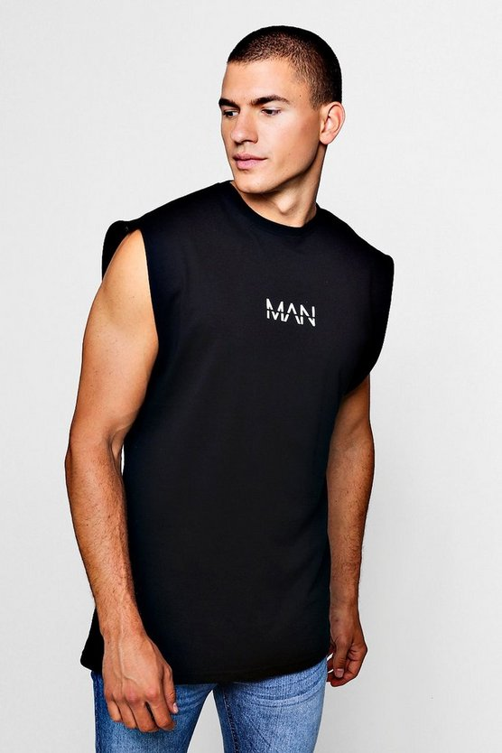 Mens Black Original MAN Sleeveless T-Shirt With Drop Armhole