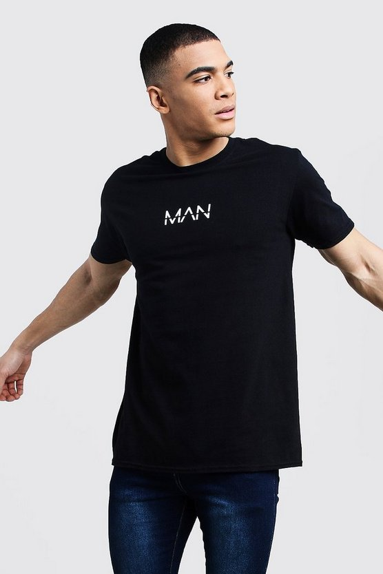 Mens Black Oversized Original MAN Print T-Shirt