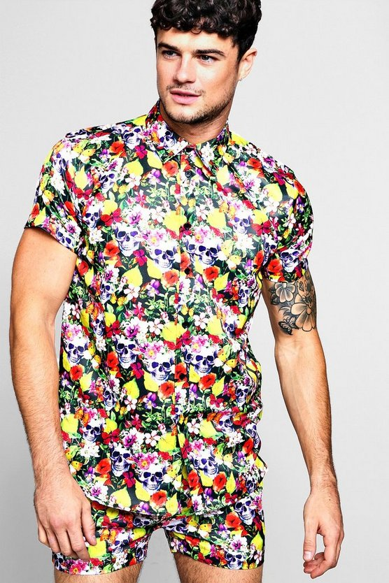 Floral Skull Short Sleeve Satin Shirt, Black, Uomo
