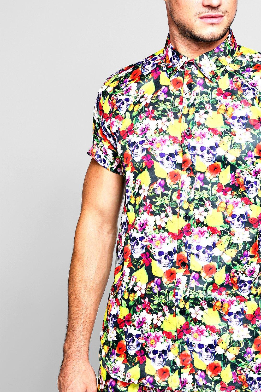 en mangas de Conjunto flores calavera camisa estampado negro cortas y con de satén de wqxgtxErX