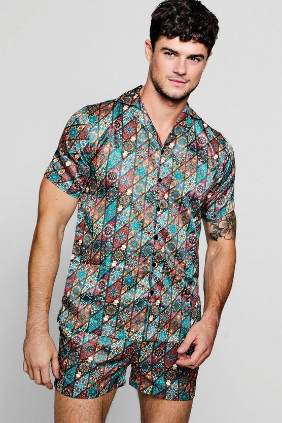 Print Short Sleeve Revere Satin Shirt