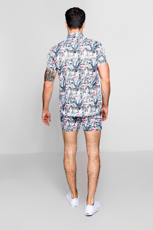 cebra de de con Conjunto blanco satén en shorts estampado HB7f0qUp