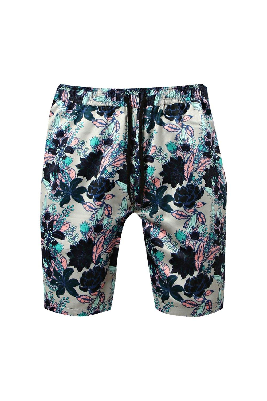 topo floral estampado cordón cortos de pantalones ajustable con Conjunto marrón con q1aRwHUC
