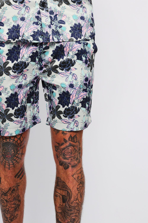 con marrón pantalones floral ajustable Conjunto topo con cortos cordón de estampado 4TYqA