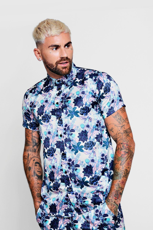 floral Conjunto con camisa satén de de manga corta marrón topo en estampado ffzBqSr