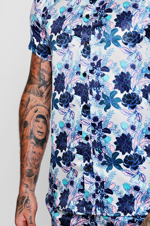 manga topo floral estampado Conjunto de camisa con en corta de marrón satén SxfFwtqP