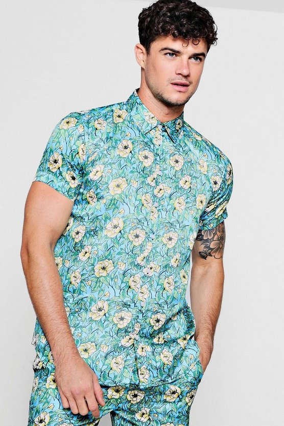 Floral Print Short Sleeve Satin Shirt