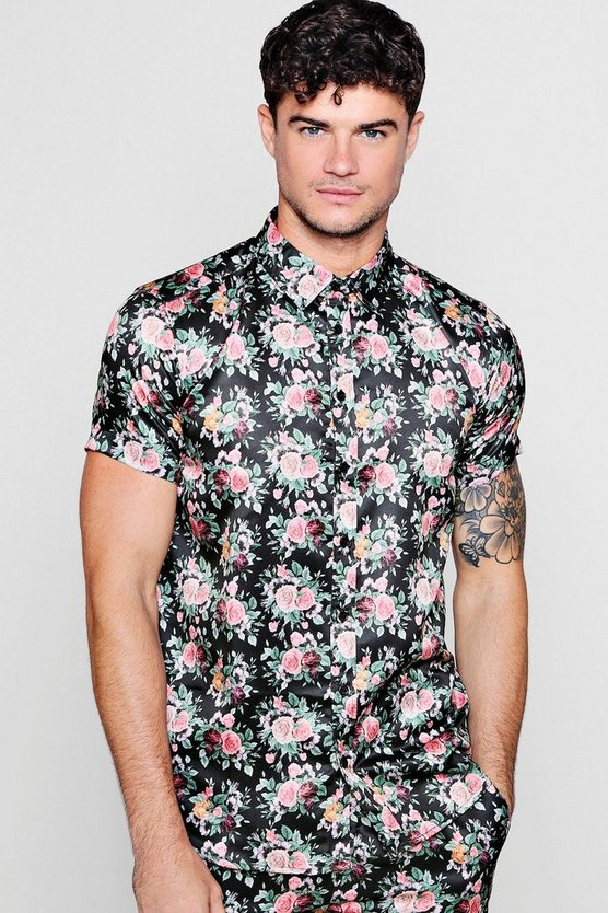Rose Print Short Sleeve Satin Shirt