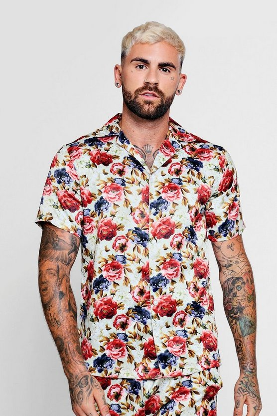Vintage Floral Short Sleeve Satin Shirt