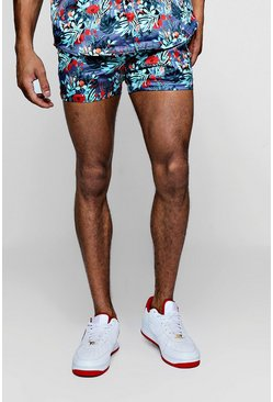 Mens Blue Print Short Length Short