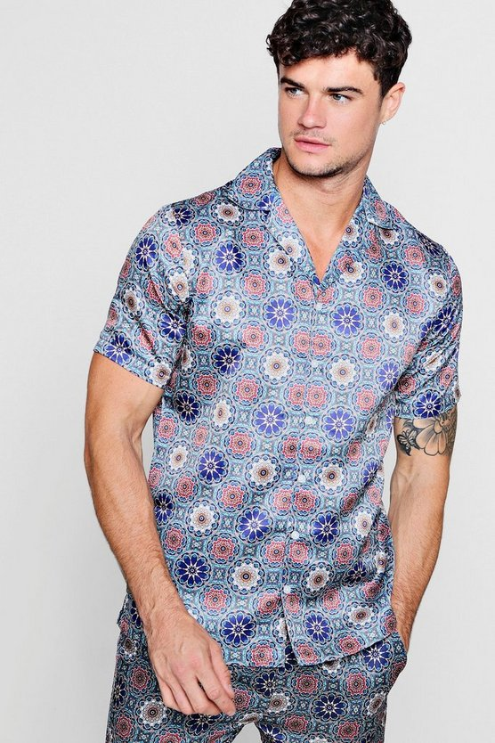 Mens Blue Print Short Sleeve Revere Shirt