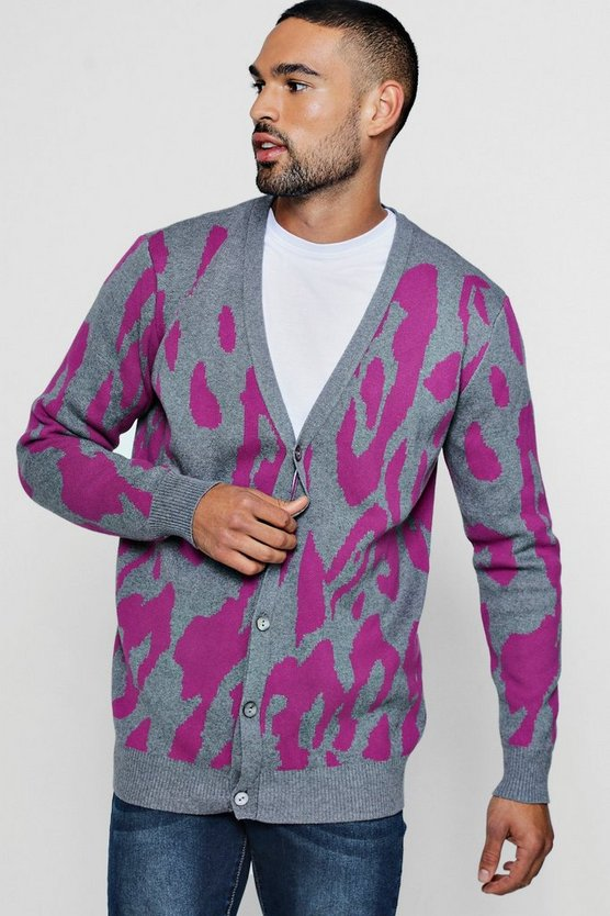 Mens Charcoal Leopard Intarsia Knitted Cardigan