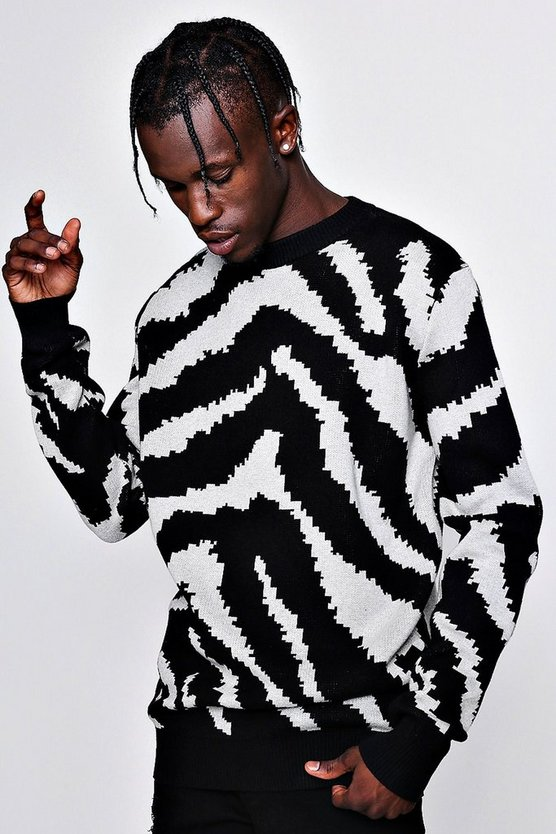 Oversized Zebra Intarsia Knitted Jumper