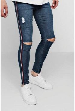Spray On Skinny Fit Ripped Knee Jeans, Dark blue, Uomo