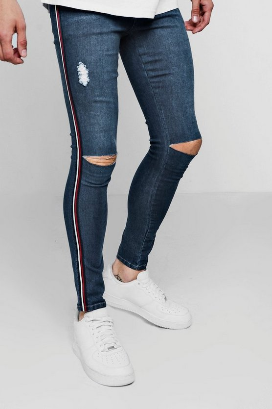 Spray On Skinny Fit Ripped Knee Jeans