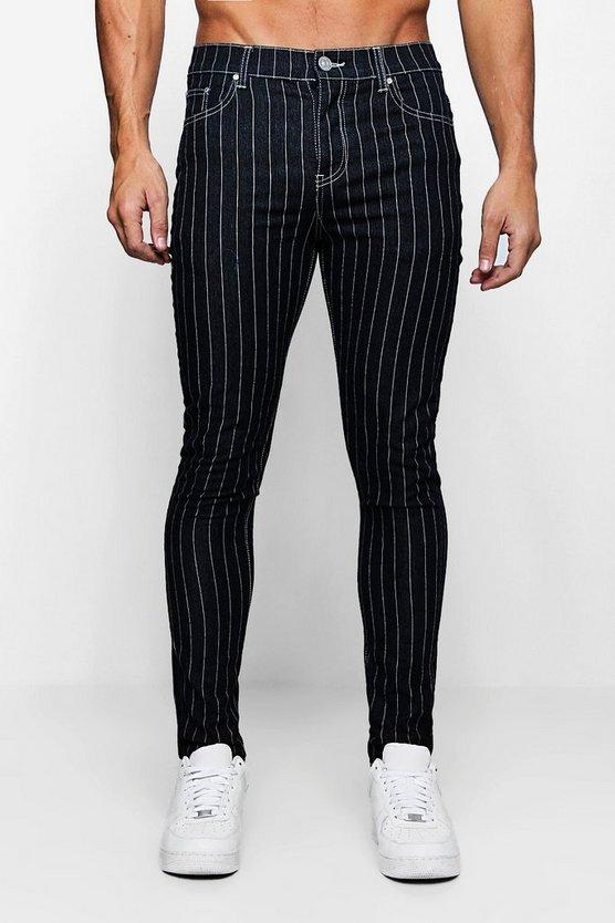 Super Skinny Pinstripe Denim Jeans by Boohoo Man