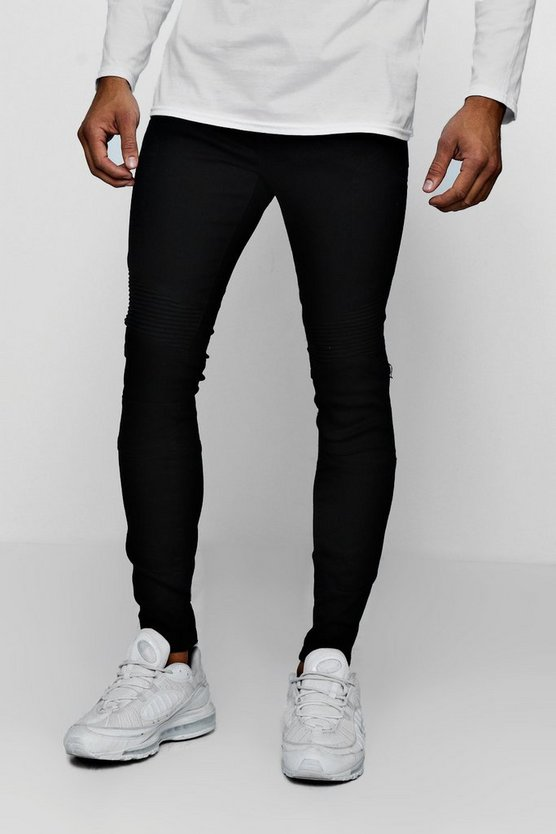 Mens Black Skinny Fit Black Denim Biker Jeans