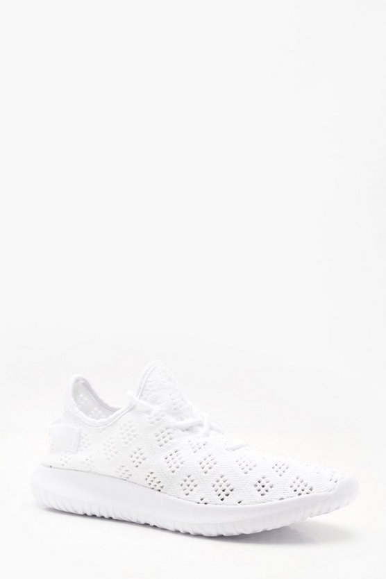 Mens White Honeycomb Knitted Trainer