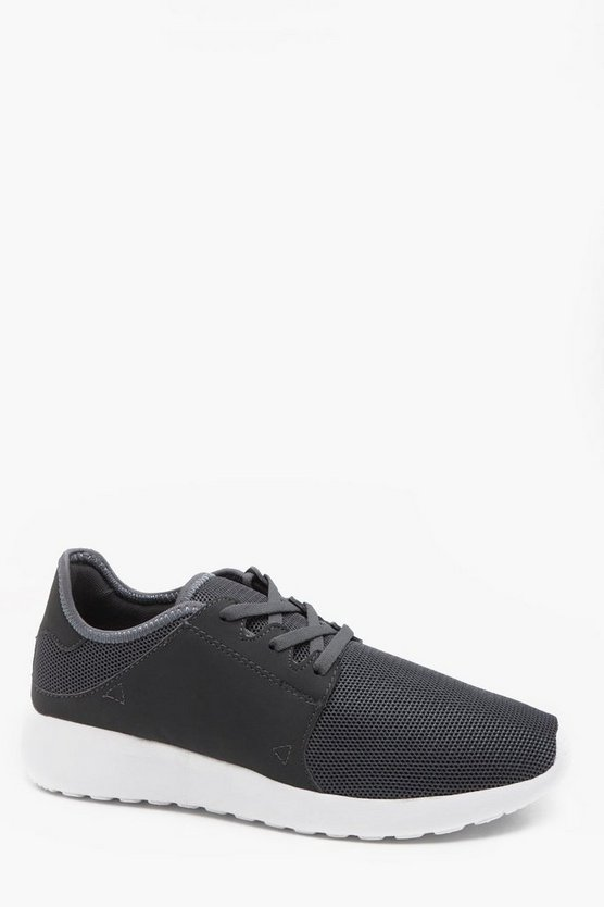 Mens Grey Knitted Side Detail Trainer