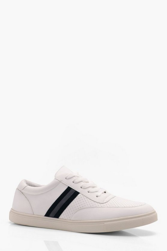 Side Tape Faux Leather Trainer