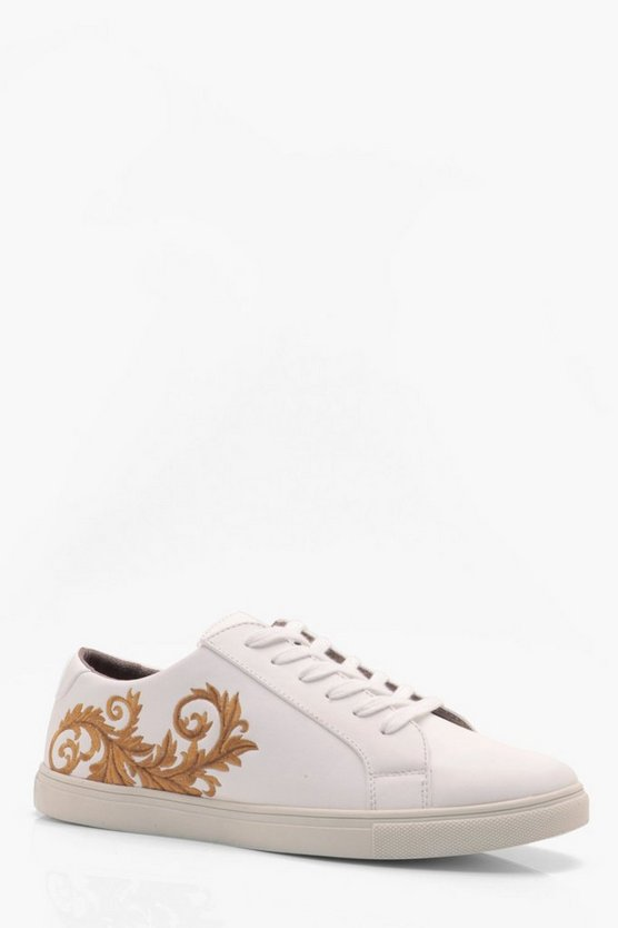 Faux Leather Embroidered Trainer