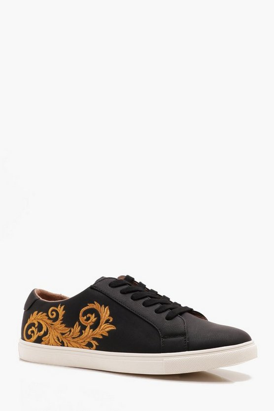 Mens Black Faux Leather Embroidered Trainer