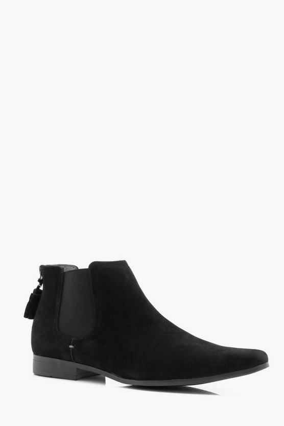 Mens Black Faux Suede Tassel Back Chelsea Boot