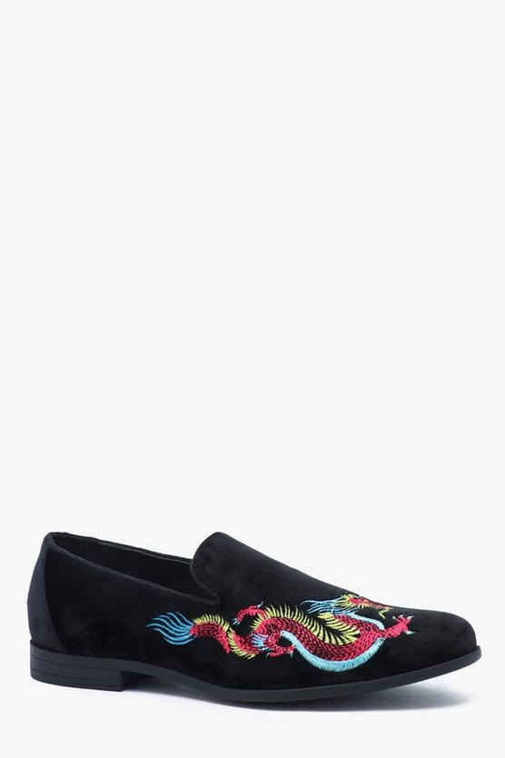 Faux Suede Dragon Embroidered Loafer