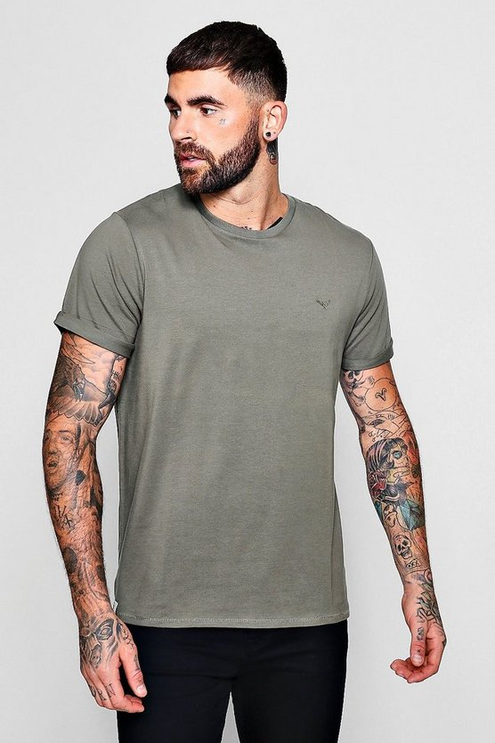Mens Khaki Muscle Fit T-Shirt With Roll Sleeves
