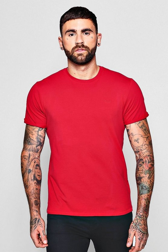 Muscle Fit T-Shirt With Roll Sleeves