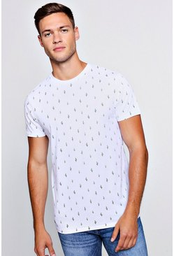 Mens White All Over Print Cactus T-Shirt