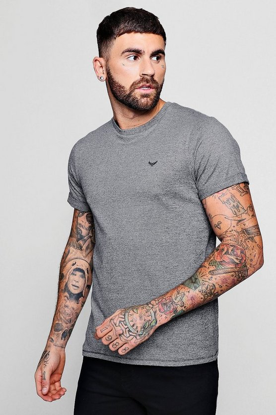 Roll Sleeve T-Shirt with Chest Embroidery