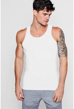 Mens White Muscle Fit Vest