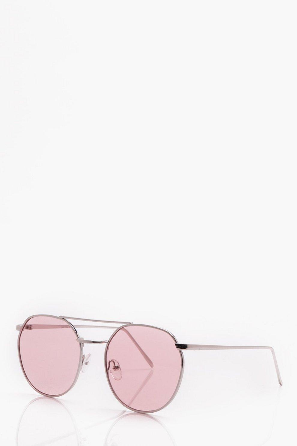 Herbst Schuhe erstklassig ein paar Tage entfernt Runde Sonnenbrille mit pink getönten Gläsern | Boohoo