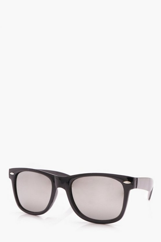 Black Retro Glasses With Mirror Lens