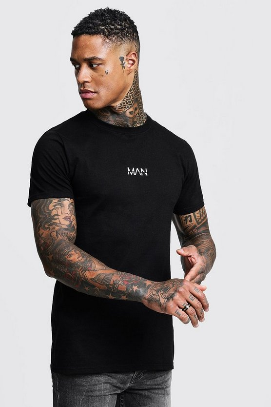 Mens Black Original MAN Logo Print T-Shirt