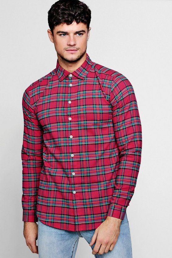 Mens Pink Pink Long Sleeve Check Shirt
