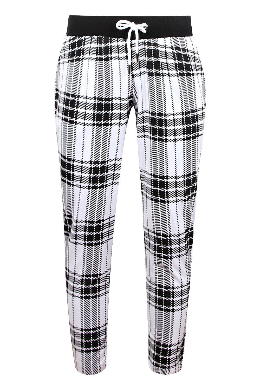 de cuadros Pantalones con punto blanco correr escoceses estampado de cortos de wYq8TBYr