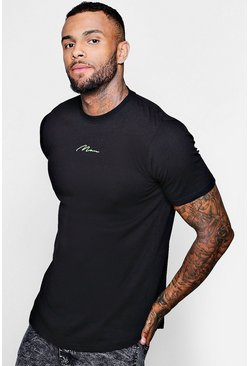 Mens Lime Longline MAN Neon Signature T-Shirt