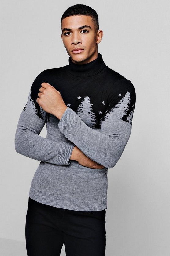 Muscle Fit Forest Roll Neck Christmas Jumper