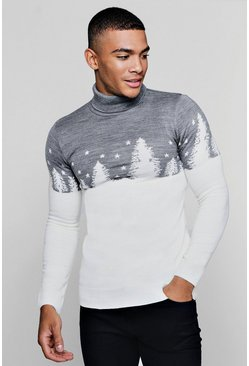 Mens White Muscle Fit Forest Roll Neck Christmas Jumper