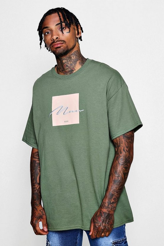 Mens Green Oversized Box Print T-Shirt With MAN Embroidery