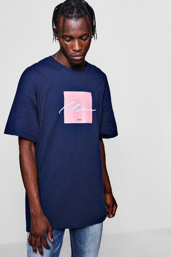 Mens Navy Oversized Box Print T-Shirt With MAN Embroidery