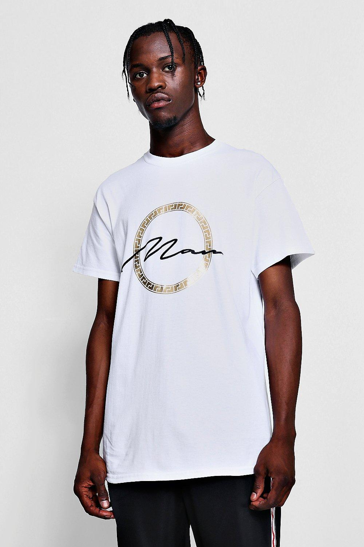 9515ca06f MAN Signature Future Visions Gold Printed T-Shirt | Boohoo