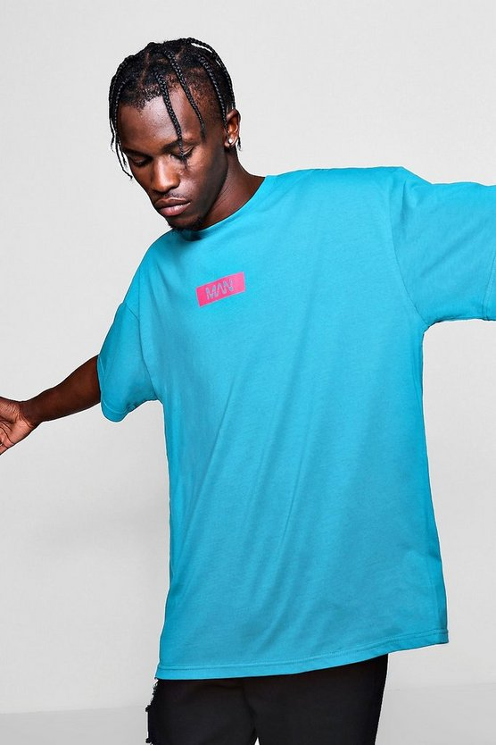 Blue Oversized MAN Box Logo T-Shirt