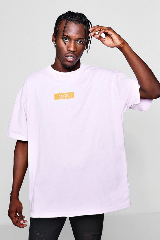 Mens Lilac Oversized MAN Box Logo T-Shirt