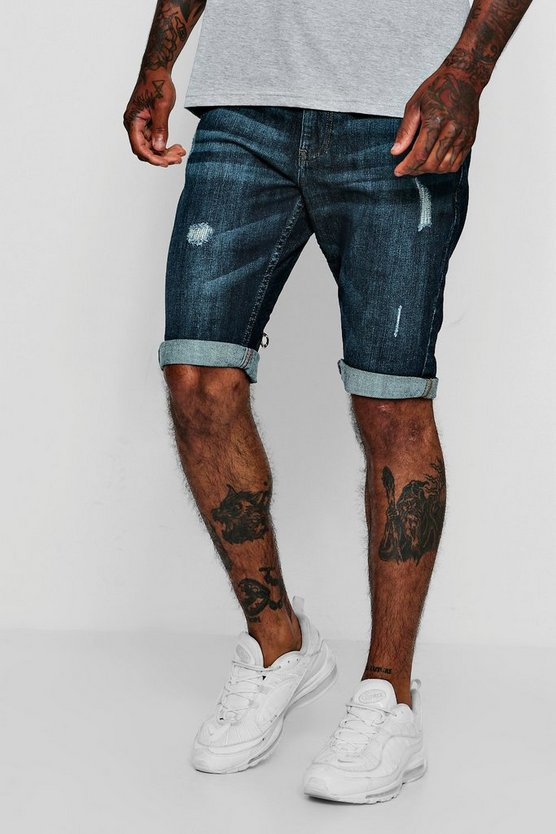 Slim Fit Denim Short With Light Distressing