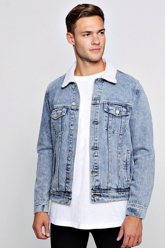 Borg Collar Washed Denim Western Jacket