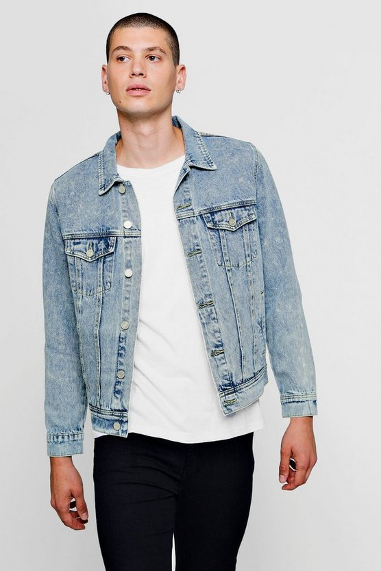 Mens Mid blue Washed Denim Western Jacket