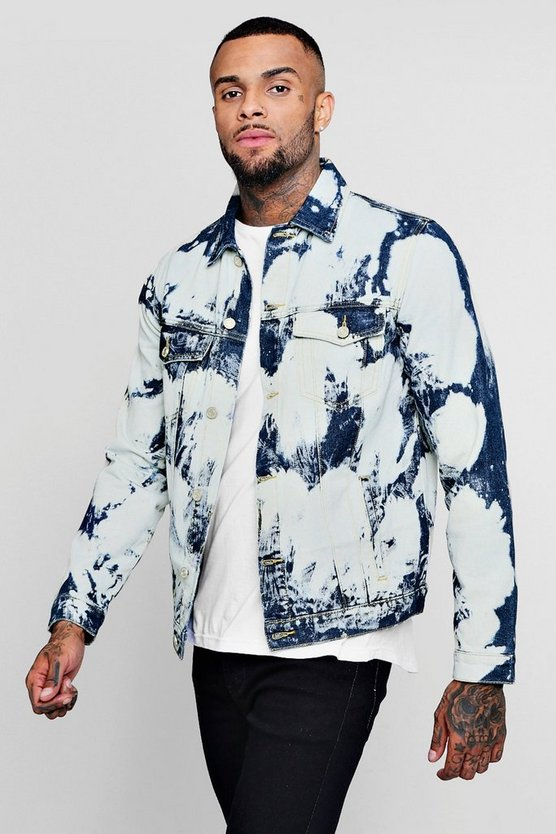 Mens Indigo Cow Bleach Denim Jacket
